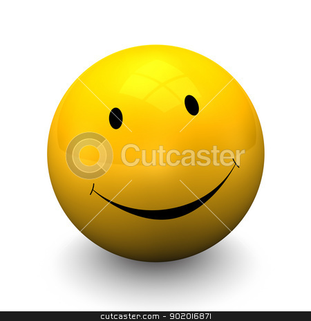 Yellow Smiley stock photo, Yellow smiley on the white background. by Alexander Limbach