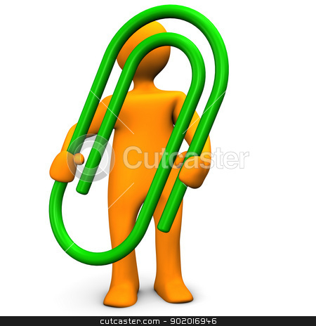 Papperclip Green stock photo, Orange cartoon character with green paperclip. by Alexander Limbach