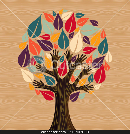 Abstract Diversity Tree hands stock vector clipart, Abstract eco friendly diversity tree hands illustration. Vector file layered for easy manipulation and custom coloring. by Cienpies Design
