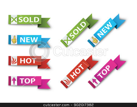 Ribbons-Sign-Symbol-Vector-New,Sold,Hot,Sale stock photo, Vector image for various applications: websites, print, icons, logo, sign, advertising, business, internet and other uses. Vector can adjust color to your liking. Ribbon. by Milan Gudába