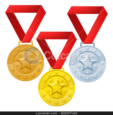 Winners medals stock vector clipart, Gold, silver and bronze winners medals for first second and third place awards. by Christos Georghiou