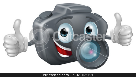 Cartoon camera mascot stock vector clipart, A happy cartoon camera mascot grinning and giving a double thumbs up  by Christos Georghiou