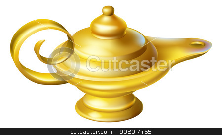 Oil Lamp stock vector clipart, Illustration of an old fashioned Oil Lamp like one a genie may pop out of in an Aladdin story  by Christos Georghiou