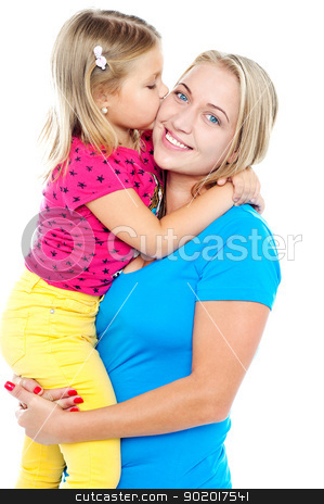 Fashionable young kid kissing her mother stock photo, Fashionable young kid kissing her mother while mum holds her up by Ishay Botbol