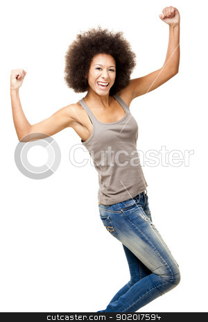 Happiness stock photo, Happy Afro-American young woman isolated on white with arms on the air by ikostudio