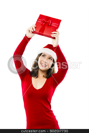 Santa Woman stock photo, Beautiful asian woman wearing Santa's hat and holding a christmas gift, isolated on white by ikostudio