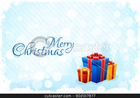 Grungy Blue Christmas Card stock vector clipart, Grungy Blue Christmas Card with Fir-trees and Presents by Vadym Nechyporenko