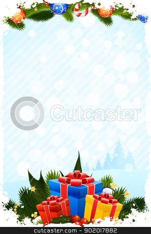 Grungy Christmas Card stock vector clipart, Grungy Christmas Greeting Card with Presents by Vadym Nechyporenko
