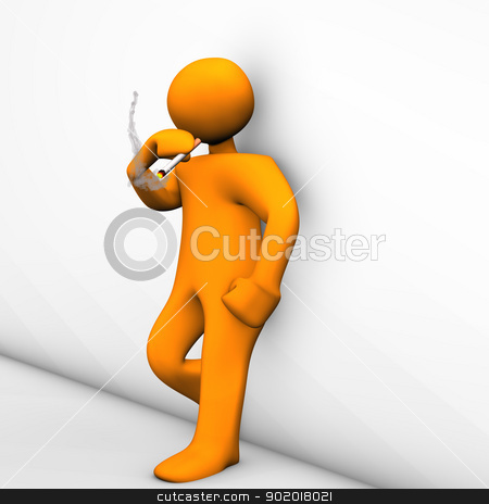 Smoke Break stock photo, Orange cartoon character make a smoke brake.  by Alexander Limbach