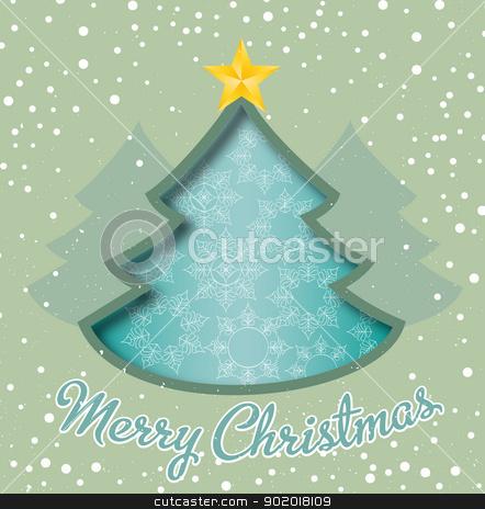 Christmas tree stock vector clipart, Merry Christmas card, christmas tree and snowflakes by Miroslava Hlavacova