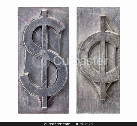 dollar and cent symbols stock photo, dollar and cent  -isolated symbols in vintage grunge metal letterpress printing blocks by Marek Uliasz