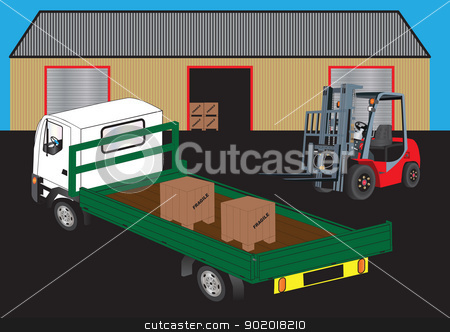 Fork Lift stock vector clipart, A Red Fork Lift Truck unloading a green flatbed truck outside a warehouse by d40xboy