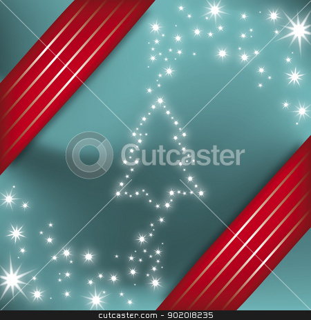 Holiday Christmas Tree Illustration with Stars stock vector clipart, Holiday Christmas Tree Vector Illustration with Stars eps10 by 99idesign