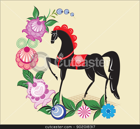 Folklore pattern,  Gorodets painting, Russia stock vector clipart, The image can be used in the design of books, websites, advertising by Margit777