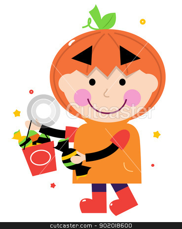 Pumpkin halloween boy isolated on white stock vector clipart, Kid in halloween costume. Vector cartoon Illustration  by BEEANDGLOW