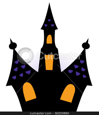 Halloween haunted house silhouette isolated on white stock vector clipart, Cartoon Haunted house isolated no white. Vector illustration  by BEEANDGLOW