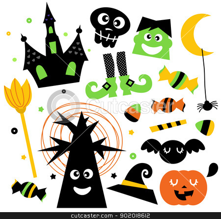 Halloween elements set isolated on white stock vector clipart, Cute halloween cartoon elements. Vector Illustration  by BEEANDGLOW