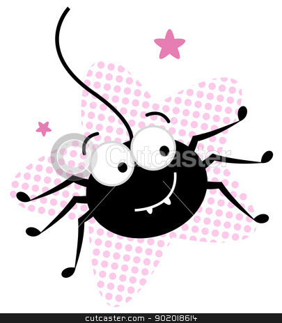 Cute crazy black spider in pink star stock vector clipart, Happy cute black Spider. Vector cartoon Illustration by BEEANDGLOW