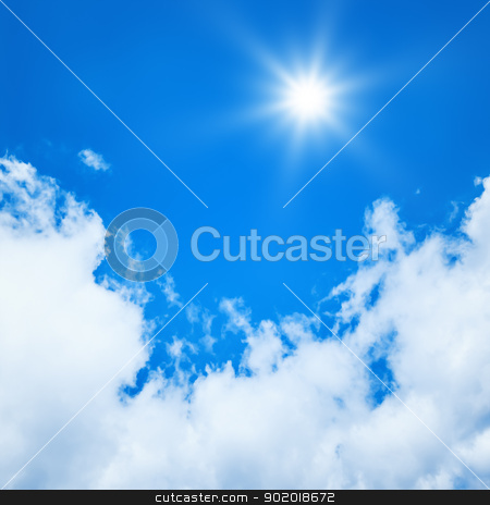 blue sky sun stock photo, An image of a bright blue sky sun background by Markus Gann