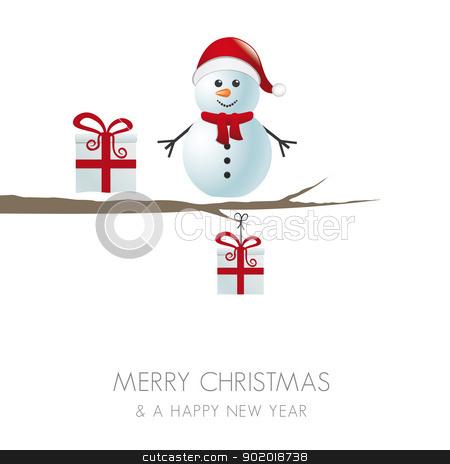 snowman on branch snowy winter landscape stock vector clipart, snowman figure on branch snowy winter landscape by d3images