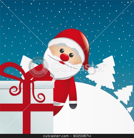 santa behind gift white winter landscape stock vector clipart, santa behind gift box white winter landscape by d3images