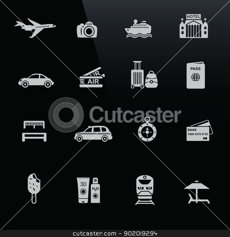 Travel icons white on black screen stock vector clipart, Travel icons white on black screen. Silhouettes of travel related objects. by lkeskinen