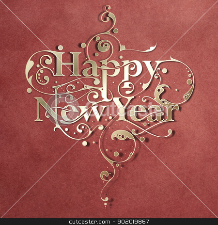 Happy New Year stock photo, Beautiful hand-made ornamental typography Happy New Year on paper background by HypnoCreative