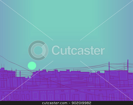 Illustration - the evening sun. stock vector clipart, Abstract illustration. sunset image. vector illustration. by Natalia Konstantinova