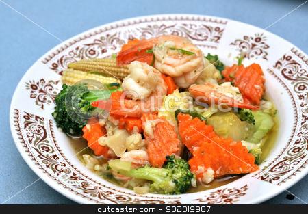 Shrimp Stir Fry stock photo, Shrimp stir fry with vegetables, carrots, peas, broccoli, onions, and garlic sauce. by bigjom
