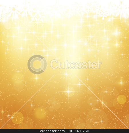 Golden Christmas background with stars and lights stock vector clipart, Abstract festive background with out of focus light dots, stars and snowflakes. Great for the festive season of Christmas to come. by Ina Wendrock