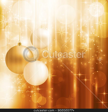 Golden sparkling Christmas card stock vector clipart, Light effects, blurry light dots, stars and Christmas balls on a warm golden background for your Christmas design. by Ina Wendrock