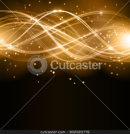Abstract golden wave pattern with stars stock vector clipart, Overlaying golden wavy lines forming an abstract pattern with light effects on a dark background. With stars and space for your copy. EPS10 by Ina Wendrock