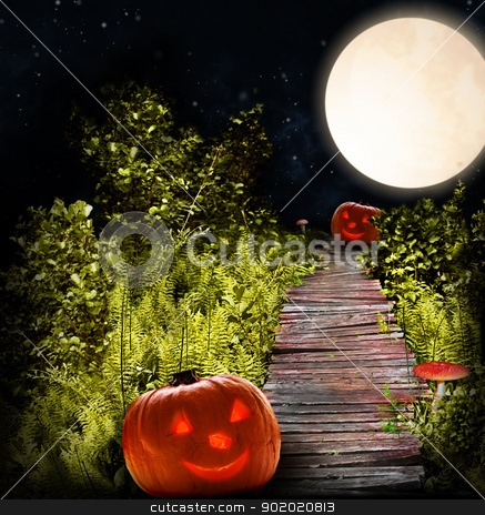 Halloween stock photo, wooden road with Halloween pumpkins and fly-agarics through night forest with fern  by Sergej Razvodovskij