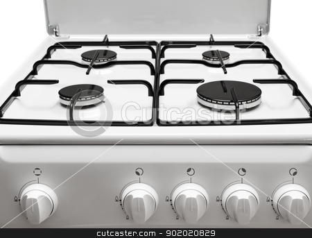 Gas stove stock photo, Front and top parts of the gas stove by Sergej Razvodovskij