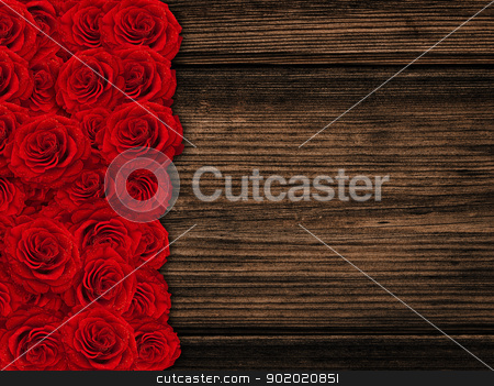 roses stock photo, red beautiful roses over wooden background by Sergej Razvodovskij