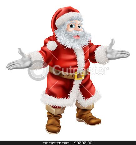 Christmas Santa Claus stock vector clipart, Christmas cartoon illustration of full body standing happy Santa Claus by Christos Georghiou