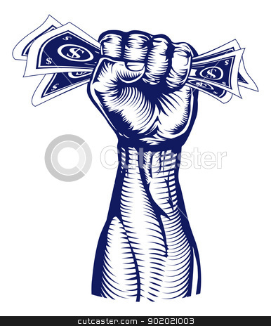 Fist holding up money stock vector clipart, A revolutionary fist holding up a hand full of dollar bills money. by Christos Georghiou
