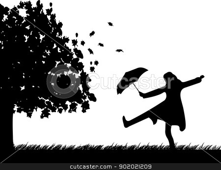Young woman dancing in the rain under umbrella in park in autumn or fall silhouette  stock vector clipart, Young woman dancing in the rain under umbrella in park in autumn or fall silhouette  by Tijana Mihajlovic