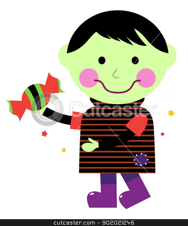 Cute Zombie boy isolated on white stock vector clipart, Retro walking zombie kid. Vector cartoon  by BEEANDGLOW