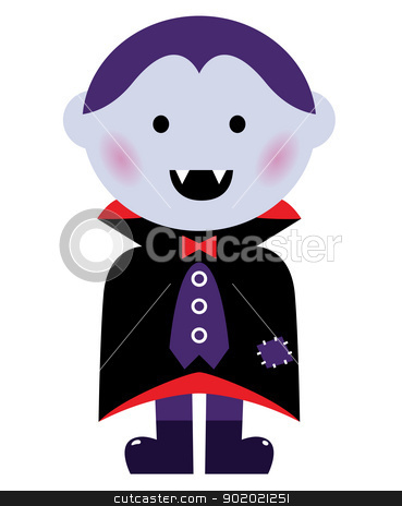 Cute Vampire boy isolated on white stock vector clipart, Child in vampire costume. Vector cartoon illustration  by BEEANDGLOW