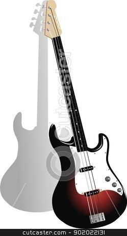 vector bass guitar stock vector clipart, vector ilustration by fcsabi