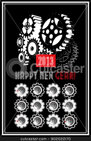 New year calender stock photo, 2013 New year calender with gear on black by sermax55