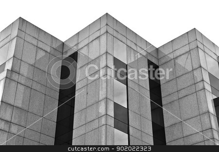 building marble and glass facade stock photo, Modern building marble and glass facade abstract background. Black and white. by sirylok