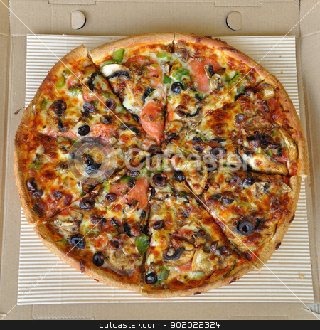 pizza with pepperoni stock photo, Pizza with pepperoni, mushrooms, pepper, and olives. Italian fast food background. by sirylok
