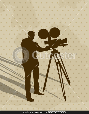 Camera man stock vector clipart, Silhouette of a man filming and shadow, conceptual vintage art. by Richard Laschon