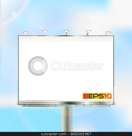 Billboard on a sunny sky stock vector clipart, Huge outdoor billboard over a clear sky, mesh gradient and transparency effect used. by Richard Laschon