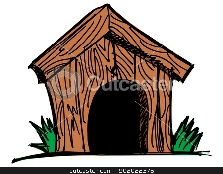Wooden dog house stock vector clipart, Wooden dog house on the white background by Oleksandr Kovalenko