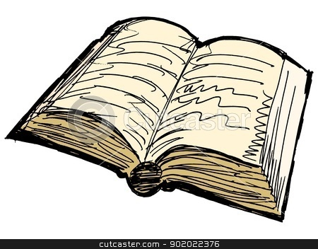 One opened old book stock vector clipart, One opened old book on white background by Oleksandr Kovalenko