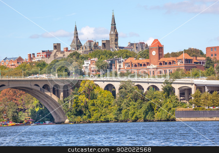 Key Bridge Georgetown University Washington DC Potomac River stock photo, Key Bridge Potomac River Georgetown University Washington DC from Roosevelt Island.  Completed in 1923 this is the oldest bridge in Washington DC. by William Perry