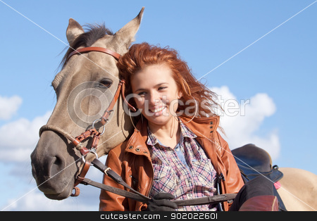 Girl and horse stock photo, Beautiful girl and Akhal-Teke horse outdoors by Yulia Chupina